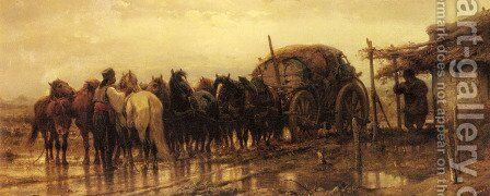 Hitching Horses to the Wagon by Adolf Schreyer - Reproduction Oil Painting
