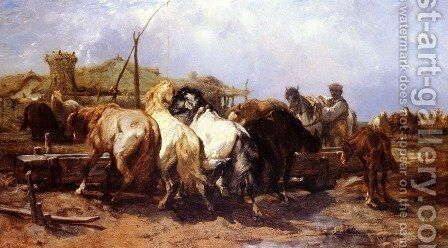 The Watering Place by Adolf Schreyer - Reproduction Oil Painting