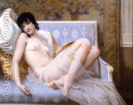 Jeune femme denudée sur canape (Young woman naked on a settee) by Guillaume Seignac - Reproduction Oil Painting