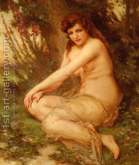 La Nymphe De Foret (The Forest Nymph) by Guillaume Seignac - Reproduction Oil Painting