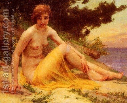 Nu Sur La Plage (Nude on the Beach) by Guillaume Seignac - Reproduction Oil Painting