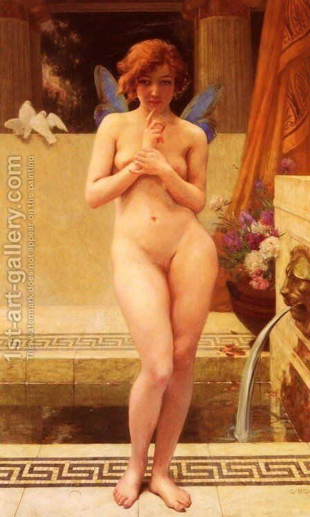 Nymphe A La Piece D'Eau (Nymph at the Fountain) by Guillaume Seignac - Reproduction Oil Painting