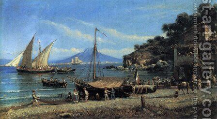 Figures on a beach near Naples by Giovanni Serritelli - Reproduction Oil Painting