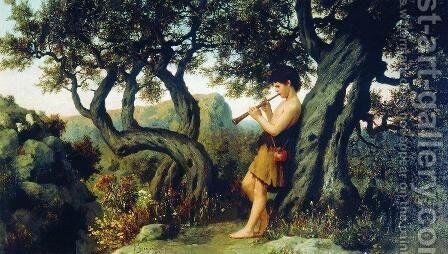 A Shepherd Playing Flute by Henryk Hector Siemiradzki - Reproduction Oil Painting