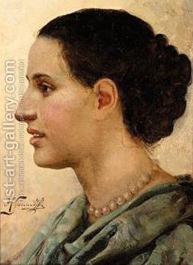Portrait of a Young Woman by Henryk Hector Siemiradzki - Reproduction Oil Painting