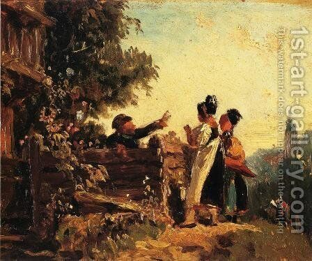 Swabian Girls at a Garden Fence by Carl Spitzweg - Reproduction Oil Painting