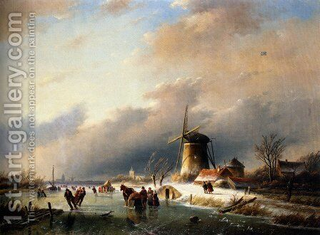 Figures Skating on a Frozen River by Jan Jacob Coenraad Spohler - Reproduction Oil Painting