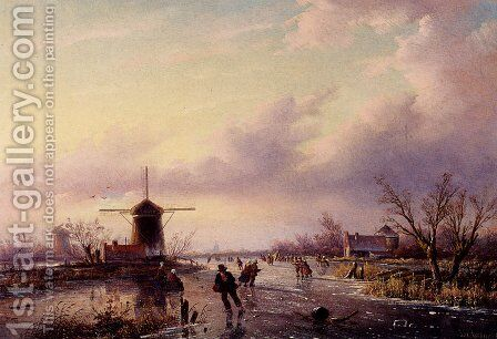 A Winter Landscape With Figures On A Frozen Waterway by Jan Jacob Coenraad Spohler - Reproduction Oil Painting