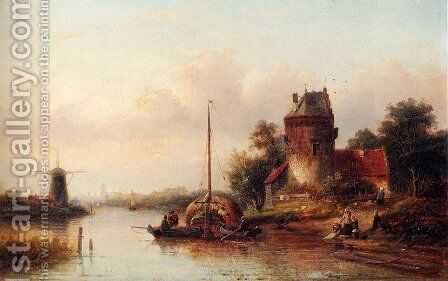 A River Landscape In Summer With A Moored Haybarge By A Fortified Farmhouse by Jan Jacob Coenraad Spohler - Reproduction Oil Painting