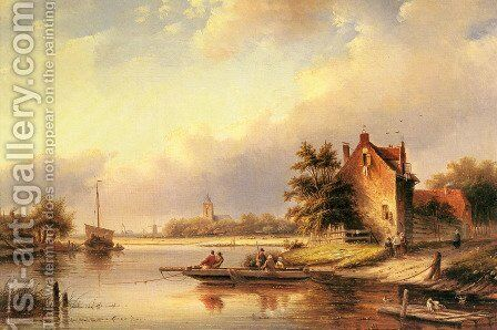 A Summer's Day at the Ferry Crossing by Jan Jacob Coenraad Spohler - Reproduction Oil Painting