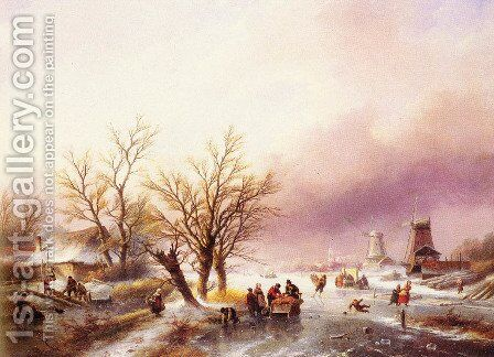A Winter Landscape by Jan Jacob Coenraad Spohler - Reproduction Oil Painting