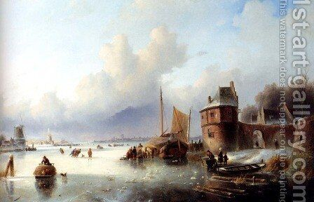 A Winter Landscape With Numerous Skaters On A Frozen Waterway, Dordrecht In The Distance by Jan Jacob Coenraad Spohler - Reproduction Oil Painting