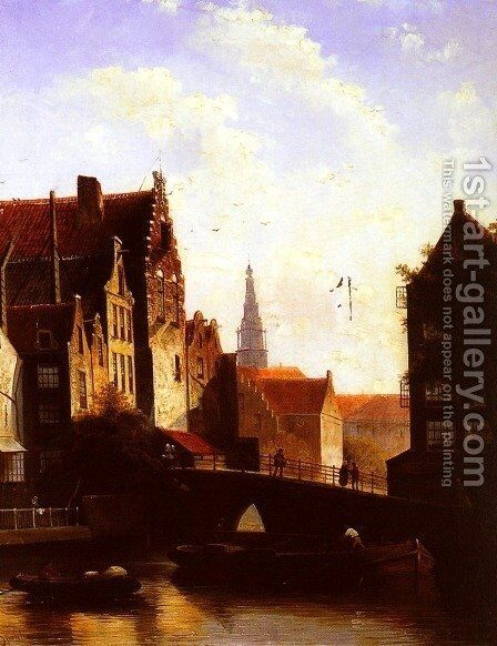 Figures on a Bridge in a Dutch Town by Jan Jacob Coenraad Spohler - Reproduction Oil Painting