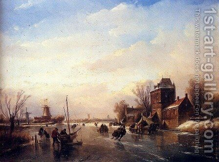 Skaters on a Frozen River by Jan Jacob Coenraad Spohler - Reproduction Oil Painting
