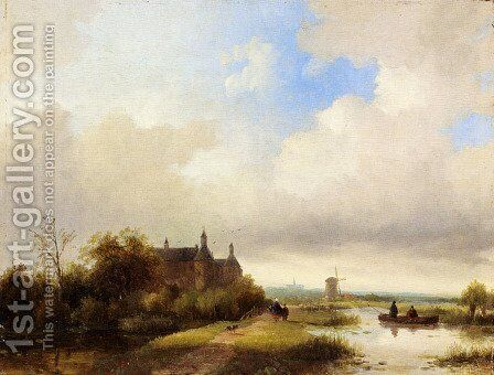 Travellers On A Path, Haarlem In The Distance by Jan Jacob Coenraad Spohler - Reproduction Oil Painting