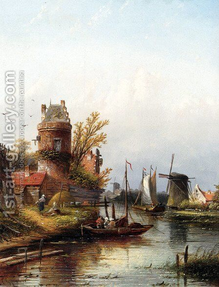 Vue De Buiksloot Pres D'Amsterdam by Jan Jacob Coenraad Spohler - Reproduction Oil Painting