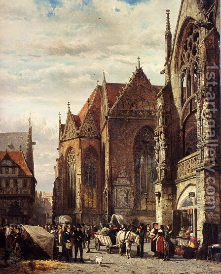 Many Figures On The Market Square In Front Of The Martinikirche, Braunschweig by Cornelis Springer - Reproduction Oil Painting
