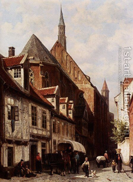 A Busy Street In Bremen With The Saint Johann Church In The Background by Cornelis Springer - Reproduction Oil Painting