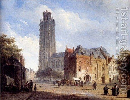 A Cathedral On A Townsquare In Summer by Cornelis Springer - Reproduction Oil Painting