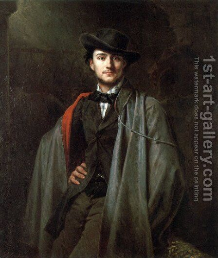 Bildnis Des Malers Baron Jessenack Von Bela by Carl Steffeck - Reproduction Oil Painting