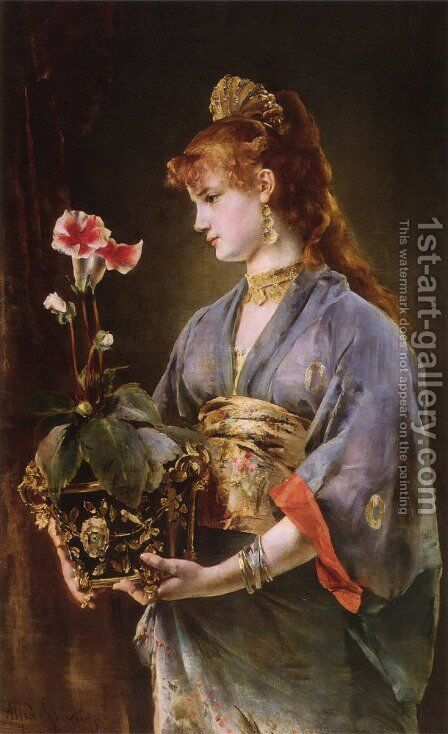 Portrait of a Woman by Alfred Stevens - Reproduction Oil Painting