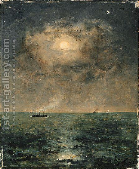 Moonlit seascape by Alfred Stevens - Reproduction Oil Painting