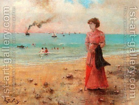 Jeune femme a l'ombrelle rouge au bord de la mer by Alfred Stevens - Reproduction Oil Painting