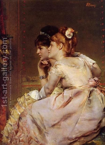 The Japanese Mask (or Intrigue) by Alfred Stevens - Reproduction Oil Painting