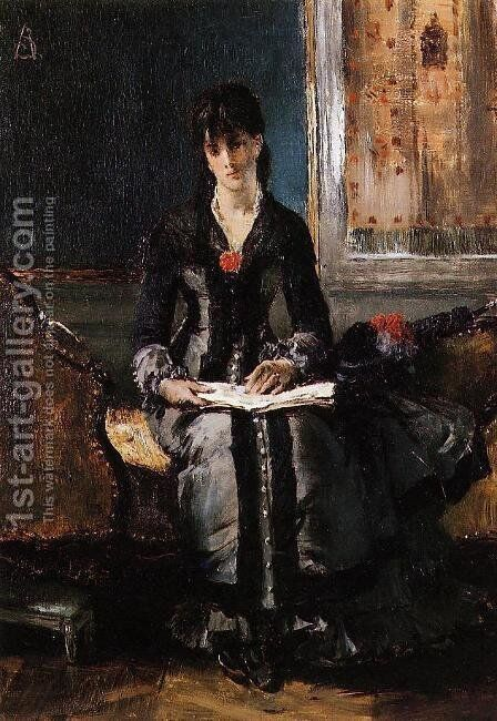 Portrait of a Young Woman by Alfred Stevens - Reproduction Oil Painting