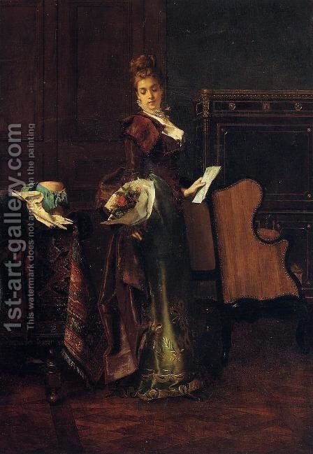 The Love Letter by Alfred Stevens - Reproduction Oil Painting