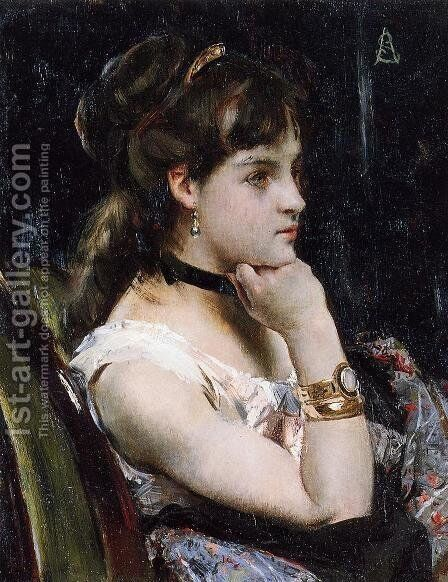 Woman Wearing a Bracelet by Alfred Stevens - Reproduction Oil Painting