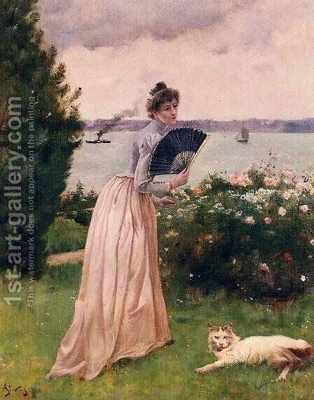Woman with a Fan by Alfred Stevens - Reproduction Oil Painting