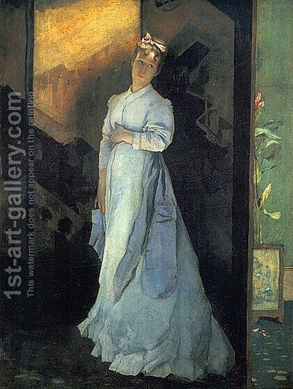 The Farewell Note by Alfred Stevens - Reproduction Oil Painting