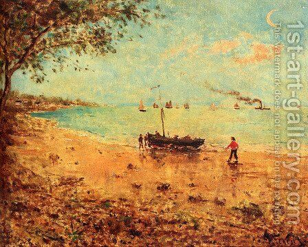 Une Plage En Normandie by Alfred Stevens - Reproduction Oil Painting