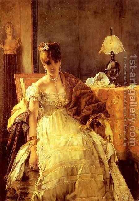 Lovelorn by Alfred Stevens - Reproduction Oil Painting