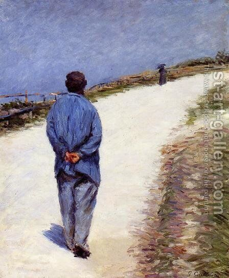 Man in a Smock (or Father Magloire on the Road between Saint-Clair and Etretat) by Gustave Caillebotte - Reproduction Oil Painting