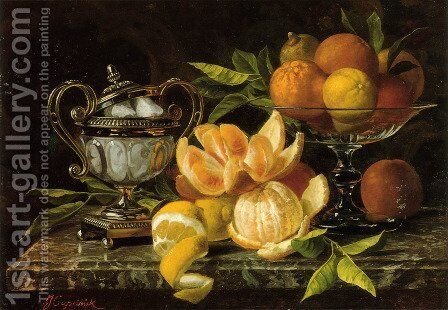 Nature Morte Aux Oranges Et Citrons (Still Life With Oranges And Lemons) by Jean Capeinick - Reproduction Oil Painting