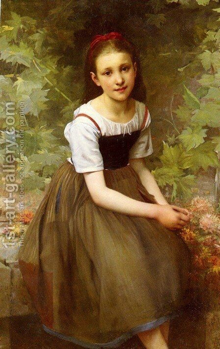 Une Jeune Fille Aux Fleurs (A Girl with Flowers) by Charles Victor Thirion - Reproduction Oil Painting