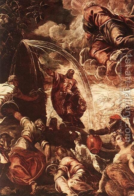 Moses Drawing Water from the Rock [detail: 1] by Jacopo Tintoretto (Robusti) - Reproduction Oil Painting