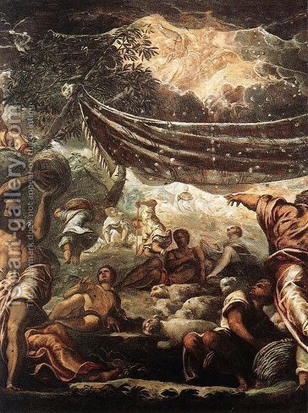The Miracle of Manna [detail: 1] by Jacopo Tintoretto (Robusti) - Reproduction Oil Painting