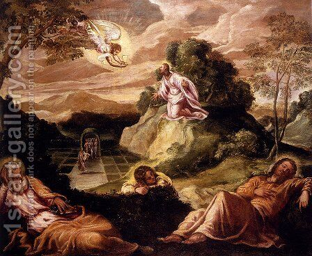 Agony In The Garden by Jacopo Tintoretto (Robusti) - Reproduction Oil Painting