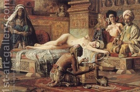 In the Harem by Gyula Tornai - Reproduction Oil Painting