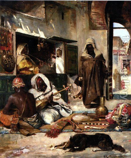 An Arms Merchant in Tangiers by Gyula Tornai - Reproduction Oil Painting