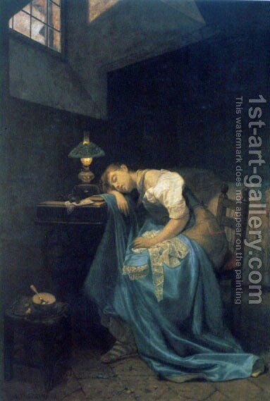 A Tired Seamstress by Angelo Trezzini - Reproduction Oil Painting