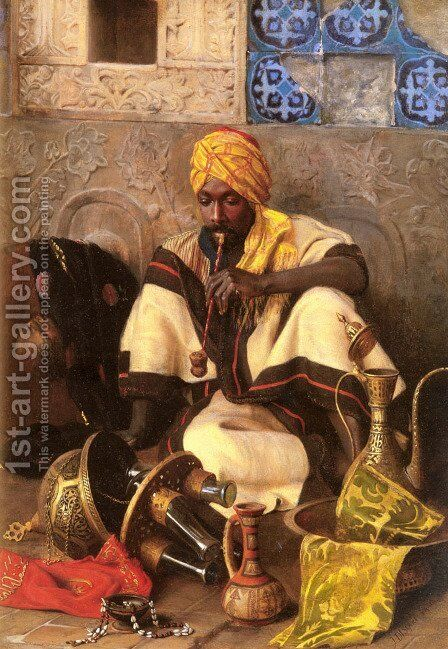 The Arab Smoker by Jean Discart - Reproduction Oil Painting