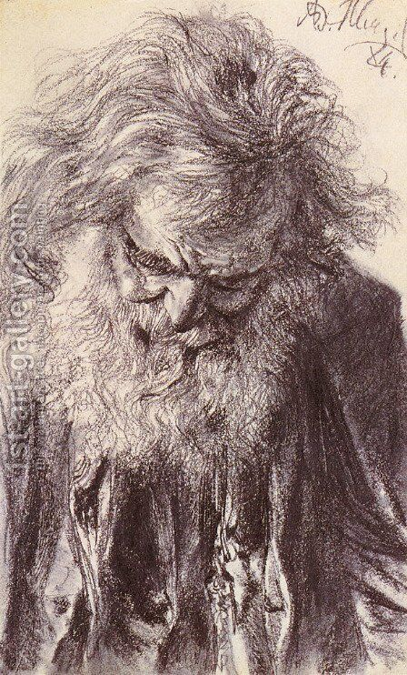 Portrait of an Old Man by Adolph von Menzel - Reproduction Oil Painting