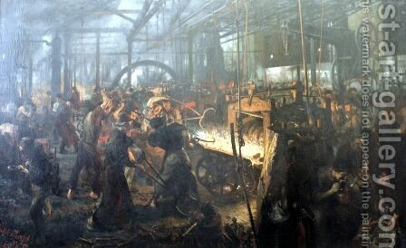 The Foundry by Adolph von Menzel - Reproduction Oil Painting