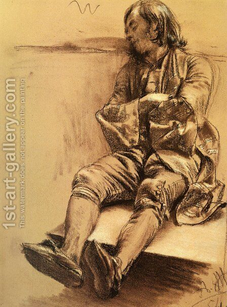 Schlafender (Man Asleep) by Adolph von Menzel - Reproduction Oil Painting