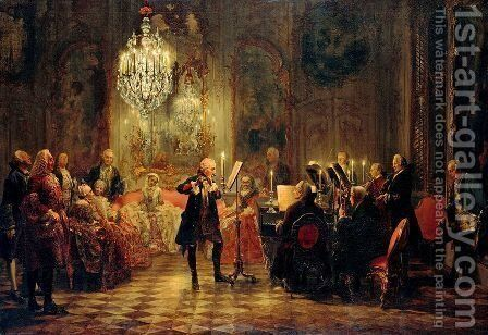 The Flute Concert by Adolph von Menzel - Reproduction Oil Painting