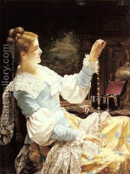 Admiring her Jewels by Jan Frederik Pieter Portielje - Reproduction Oil Painting